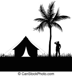 camping, dans, nature, homme, silhouette, illustration