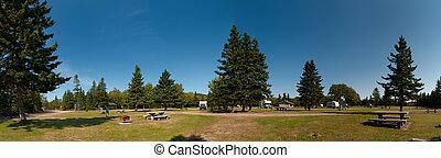 camping, de, cape breton, tierras altas, parque nacional