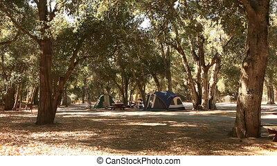 camping, draußen, in, zelte, noch, kugel