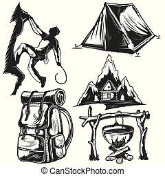 camping elements badges, logos, labels, posters