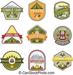 Camping Emblems Icon Set