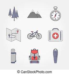 camping., ensemble, icon.