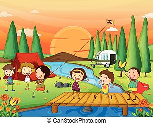 Camping - Illustration of children playing kite at the...
