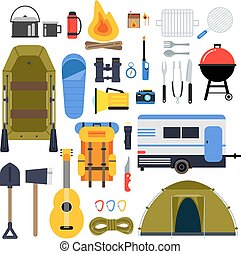 Camping equipment for travel. Hiking accessories vector icon set in flat style