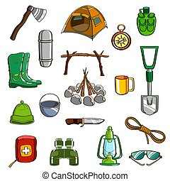 Camping Equipment Set - Set of hand drawn equipment for...