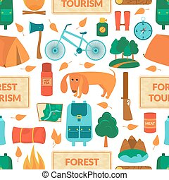 Camping equipment, vector seamless pattern