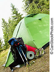 Camping Equipment with Tent, Backpack and Boots