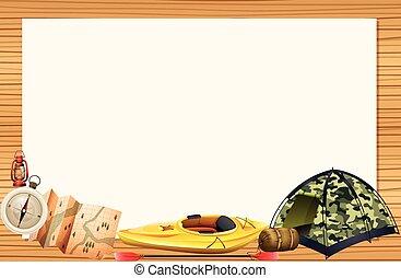 Camping equipments and border illustration