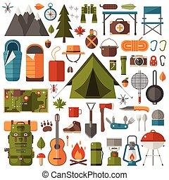 camping, et, equipement randonée, ensemble