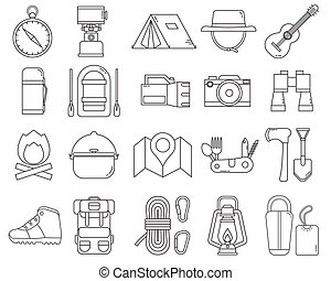 camping, et, randonnée, icône, ensemble