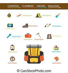 camping, et, randonnée, icônes, ensemble