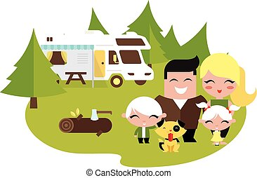 camping famille, dehors