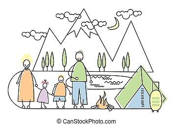 camping famille, grand, deux, parents, tourisme, enfants