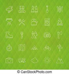 camping famille, ligne, icônes