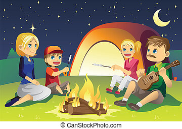Camping family - A vector illustration of a family camping