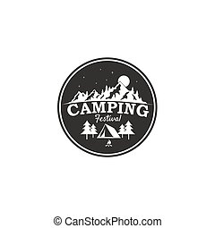 Camping Festival, Mountain Adventure Badge Vector Logo