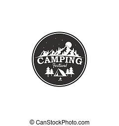 Camping Festival, Mountain Adventure Badge Vector Logo