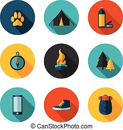 camping flat icons in vector format