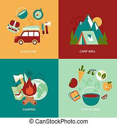 Camping flat icons set