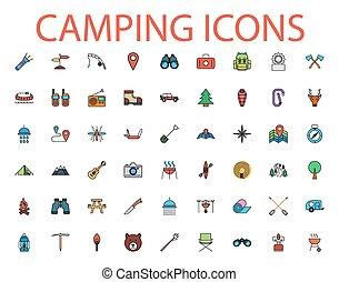 Camping flat vector icon set