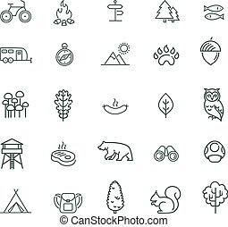 Camping, Forest and Outdoor Activities icons