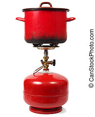 Camping gas cooker - Camping gas cylinder with pot isolated ...