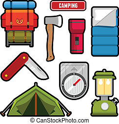 Camping graphics - Set of camping equipment graphics and ...