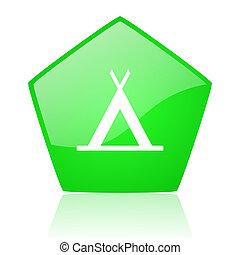 camping green pentagon web glossy icon