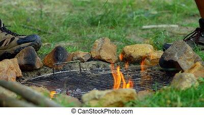 camping, gros plan, feu camp, 4k