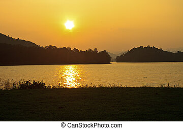 camping ground and sunset at lake