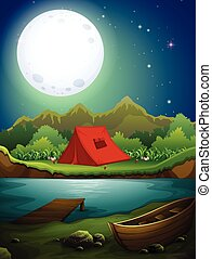 Camping ground by the lake in fullmoon night