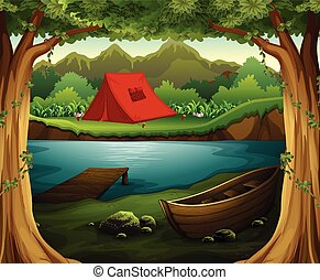 Scene of camping ground in the deep forest