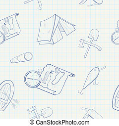 Camping hand drawn vector seamless pattern
