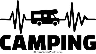 Camping heartbeat line with caravan