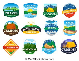 Camping, hiking and travel icons