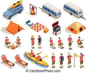 Camping Hiking Icon Set
