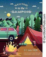 Camping Hiking Poster