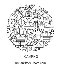Camping, hiking tools and Equipment infographic in circle - concept line vector illustration for cover, emblem, badge. Outline icons set.