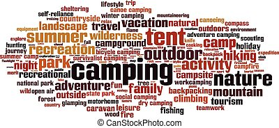 Camping-horizon - Camping word cloud concept. Vector ...
