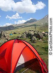 camping, hos, fjäll sida