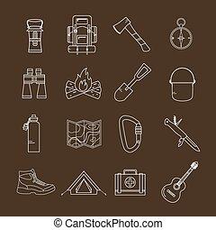 camping, icônes, ensemble