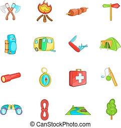 camping, icônes, ensemble, dessin animé, style