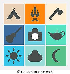 camping, icônes