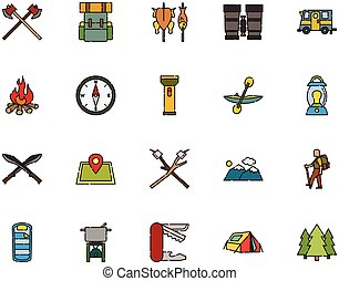Camping Icon Collection Filled Outline Style
