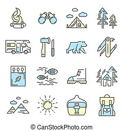 Camping Icon Set In Color