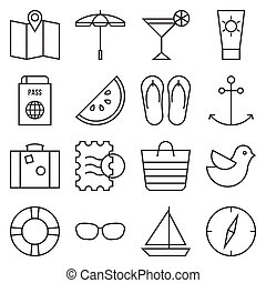 Camping icon set, outline style