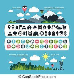 Camping icons and landscape banners - Set of camping icons...