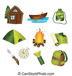 Camping icons - A vector illustration of a set of camping...