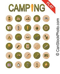 Camping icons. Flat.