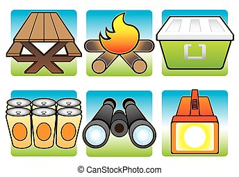 Camping Icons in Color
